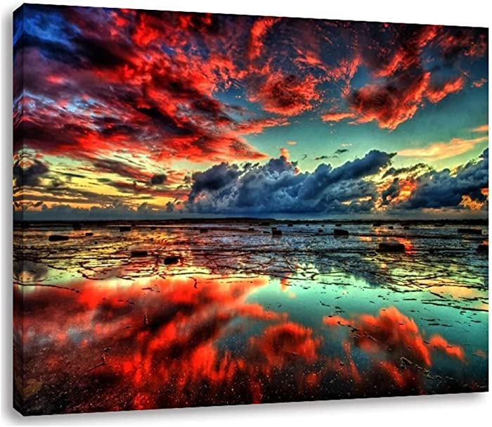 "AGCary Nature Clouds Lake Poster Wall Decor Print Oil Paintings Canvas Home Decor Wooden Framed Stretched Prints on Canvas Reproduction Ready to Hang 16"" x 12"""