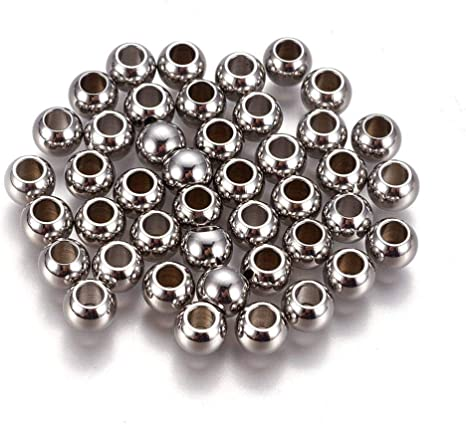 50 Pcs 10mm Gray Aluminum Round Beads For Jewelry Making DIY Craft Hole 1.5mm