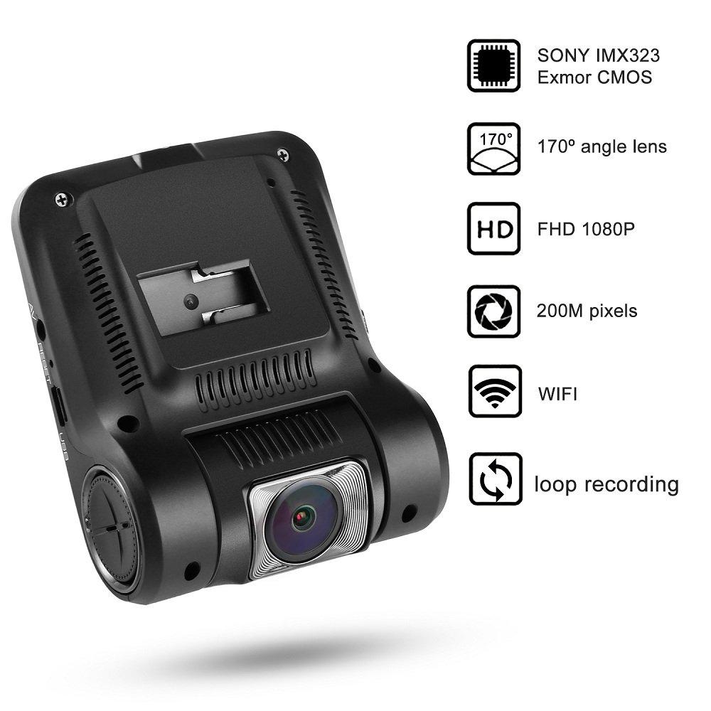 Cámara para coche WiFi LESHP Dashcam DVR p Full HD mp °