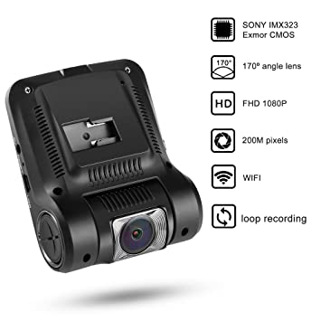 Cámara para coche WiFi, LESHP Dashcam DVR, 1080p Full HD 200mp, 170°