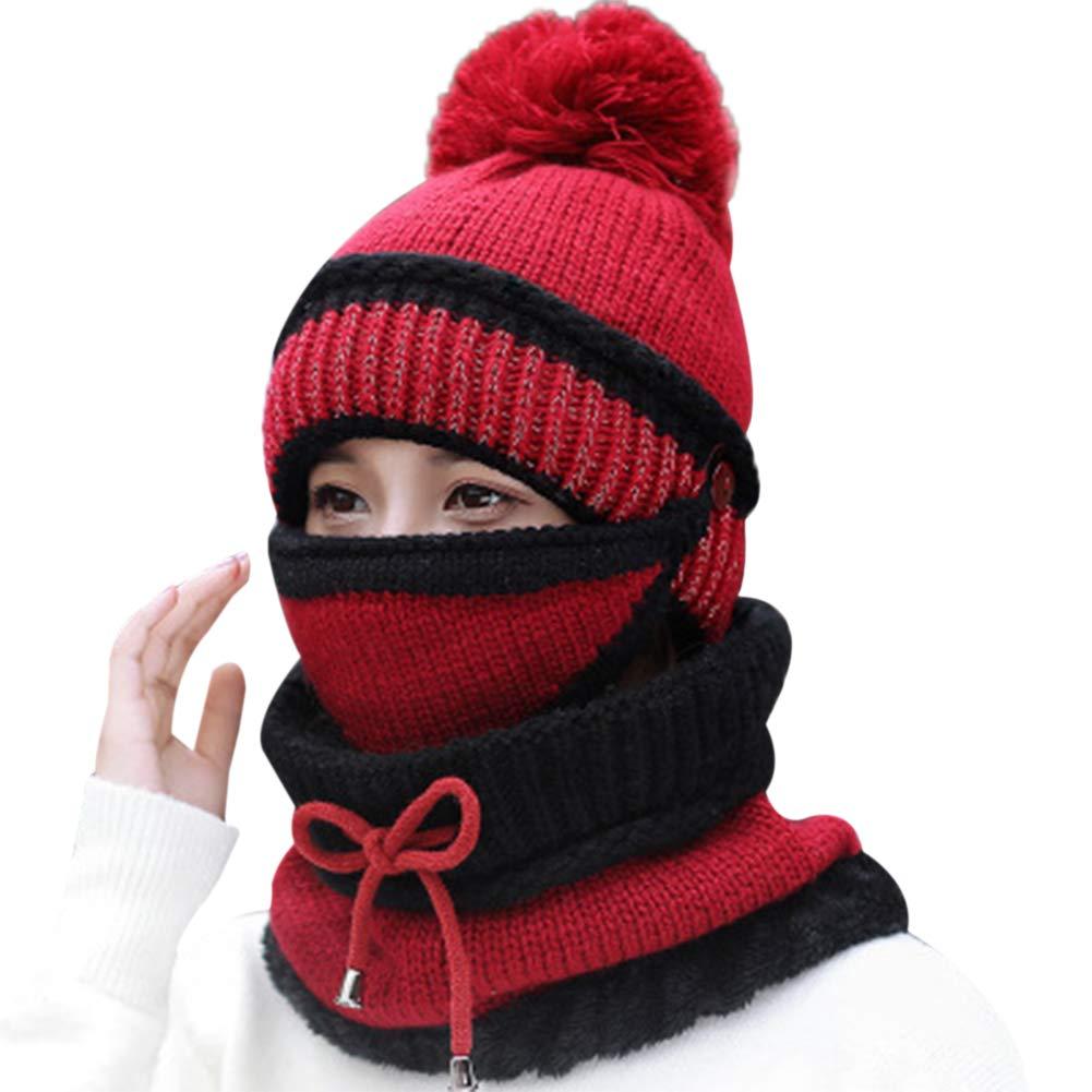 Petit Tourbillon Winter Knitted Woolen Hat Warm Mask Collar Triple Suit