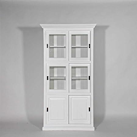 Muebles vitrina 6 puertas correderas madera de pino maciza, N185, blanco, 40: Amazon.es: Hogar
