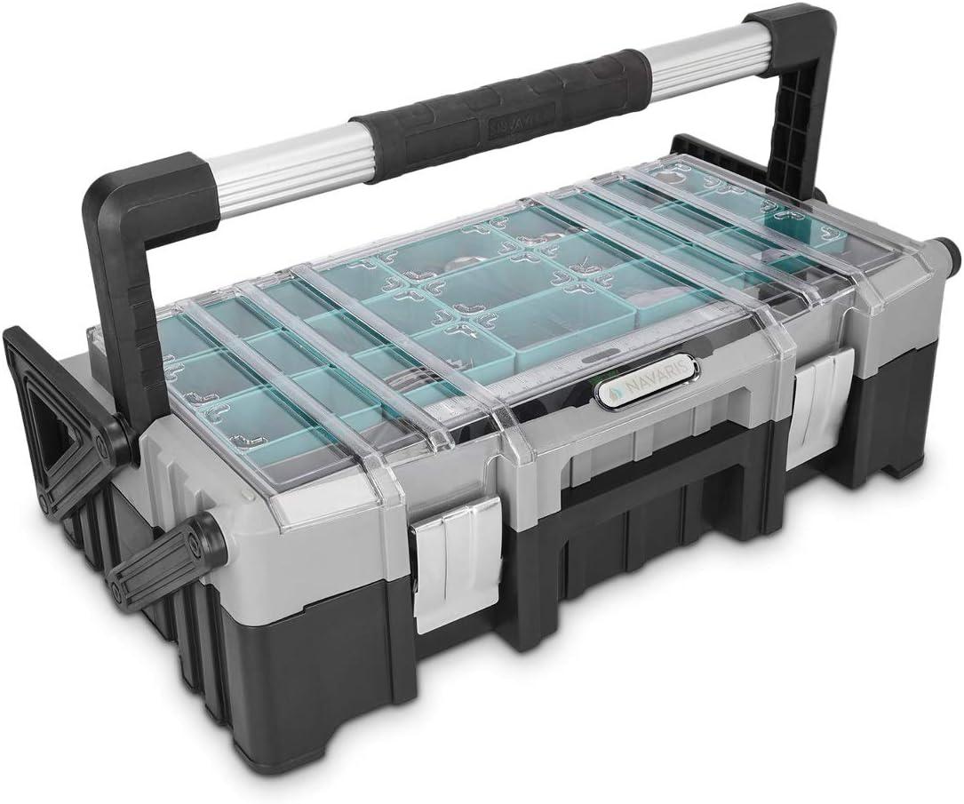 Navaris caja de herramientas de plástico y acero - Organizador de tornillos de doble altura - Maletín para herramientas de bricolaje con asa