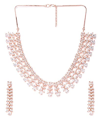 Buy Priyaasi American Diamond Rose Gold Plated Jewellery Set With Necklace And Earrings For Women And Girls Rose Gold At Amazon In