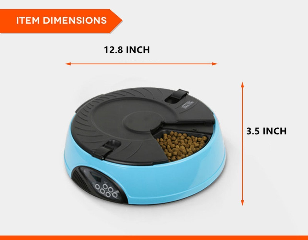 Automatic Pet Feeder PYRUS Pet Feeder Separate Compartments Food Trays Secure Locked Programmed Feeder for Pets (Blue) by PYRUS (Image #2)