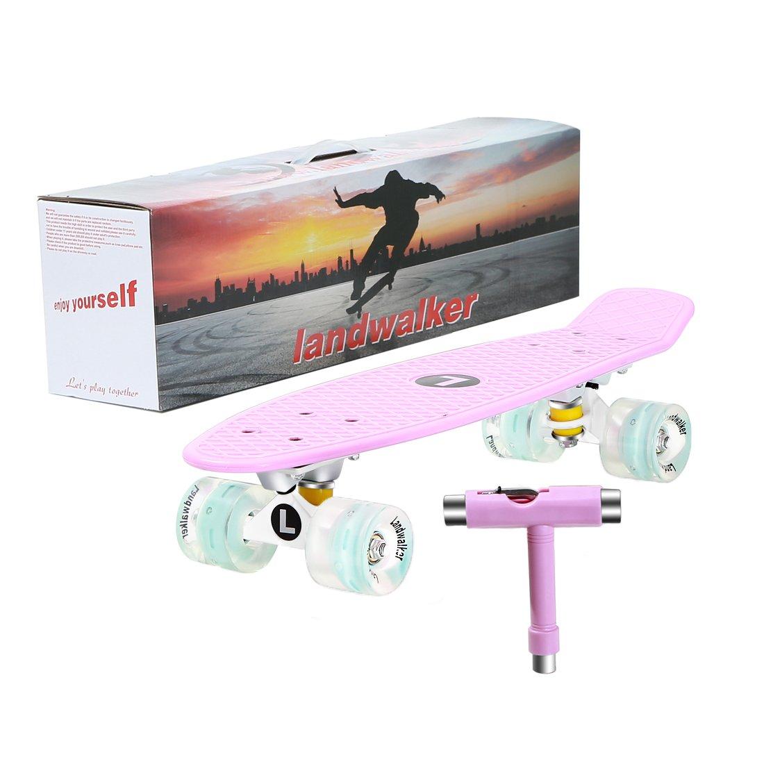 Landwalker 22'' Complete Skateboard Banana Cruiser Galaxy Skateboards Boys Girls Kids Board (light purple)