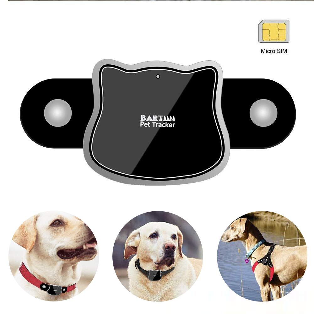 BARTUN Dog Cat GPS Tracker Activity Monitoring Pet Finder Real Time WiFi LBS GPS Position Tracking Locator Waterproof IP65 & SIM Card & Collars