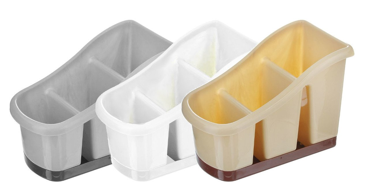 BEIGE Cutlery Rack 3 Compartment Kitchen Washing Up Brush Utensils Storage Caddy Pot with Dripping TRAY Dunya