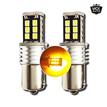 Bombillas LED para intermitentes, 15SMD P21 W, con sistema bus CAN, BA15s 1156 EB6R8, color naranja ámbar