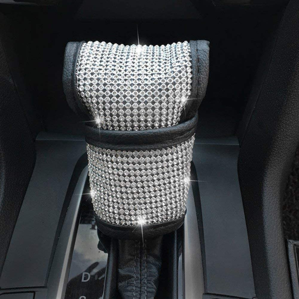 Gear Shift Konb Cover EGBANG 2pcs Crystal Diamond Car Seat Belt Covers Door Handle Cover- Rhinestone Leather Handcraft Bling Bling Car Accessories for Women Handbrake Cover