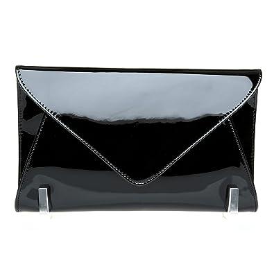 d09f89b14e4 ELLA Black Patent PU Leather Oversized Envelope Clutch Bag with Shoulder  Strap Chain: Amazon.co.uk: Shoes & Bags