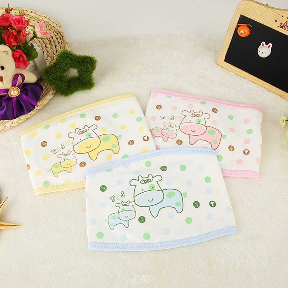 HEALLILY 3PCS Newborn Belly Band Baby Infant Belly Navel Belly Warmer Random Pattern Color