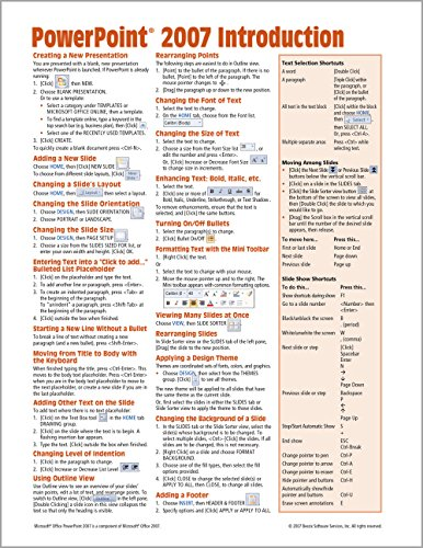 Powerpoint Quick Reference Card - Microsoft PowerPoint 2007 Introduction Quick Reference Guide (Cheat Sheet of Instructions, Tips & Shortcuts - Laminated Card)