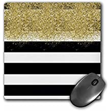 3dRose PS Glam - Image of Gold Faux Image of Glitter Black White Stripes - MousePad (mp_274227_1)