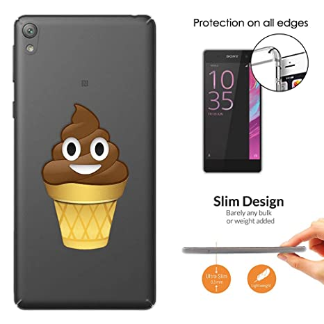 C00863 Cool Funny Smiley Emoji Poo Shit Chocolate Ice Cream Cone