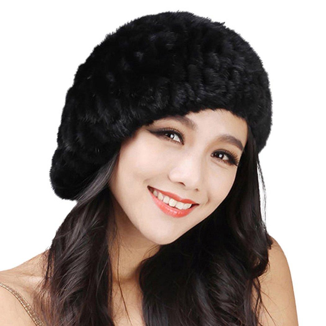 Fur Story 14618 Women's Knitted Real Mink Fur Beret Hat Black