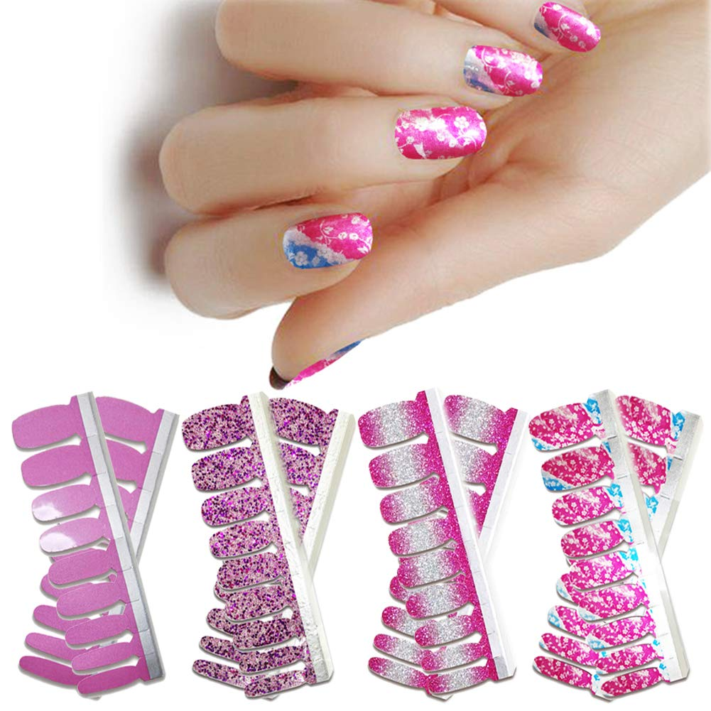 LIULI 4 Sheets Full Nail Wraps Art Polish Strips Flower Stickers Adhesive False Nail Designs Manicure Set with 1Pc Nail Buffers Files For Women Girls by LIULI