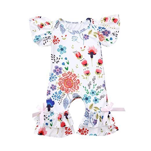f606e0ae510 Amazon.com  Baby Girls Floral Print Ruffles Sleeve Lace Bow Romper Jumpsuit  Pant  Clothing