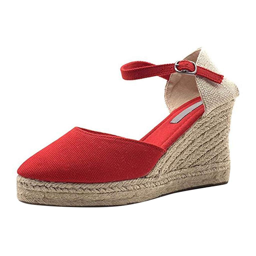 Sandals for Women Platform Wedge Espadrille Ankle Strap Buckle Casual Closed Toe Bohemian Thick Shoes (US:7.5, Red)