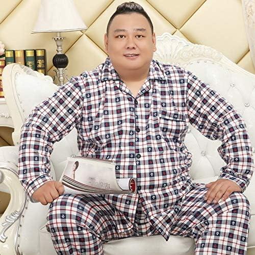 パジャマ CHJMJP ニットコットンパジャマは男性用メンズ春の新パジャマシンプルなチェック柄のパジャマカジュアルナイトウェアを設定します。 (Color : 65PS5X 4, Size : 4XL 100 115kg)