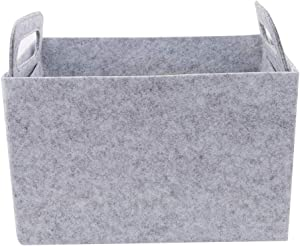 SOURBAN Foldable Felt Woven Storage Basket Box with Handles Container for Laundry, Bathroom, Baby Toys, Magazines, Food, Closet,Light Grey