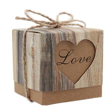 Demarkt 50X Cajas de Regalo Caja Caramelos Decoracion para Boda o Fiestas , Diseño de Corazón (Color de Grano de madera): Amazon.es: Hogar