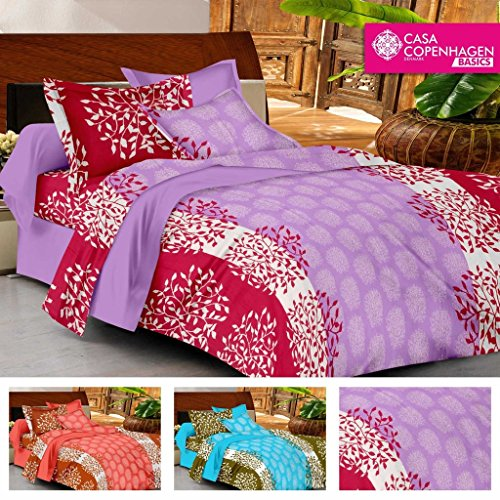 Casa Copenhagen- Basic 144 Thread Count 100% Cotton Double Bedsheet With 2 Pillow Cover- Purple,Pink & White…