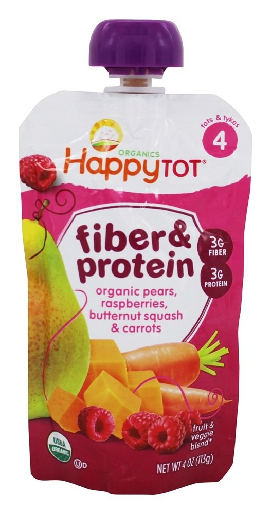 Happy Family - Happy Tot Organic Stage 4 Fiber & Protein Pouch Pears, Kiwi & Kale - 4 oz. HappyFamily