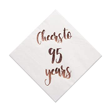 f4b16a29a3795 Cheers to 95 Years Cocktail Napkins, 50-Pack 3ply White Rose Gold 95th  Birthday
