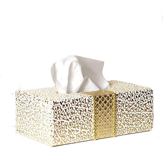 MJ-Brand Rectangular Cuero de PU Caja de pañuelos faciales Servilletero Dispensador de Papel higiénico Estuche Cajas Caso de decoración de Oficina de automóvil para el hogar (Patrón de Grabado): Amazon.es: Hogar