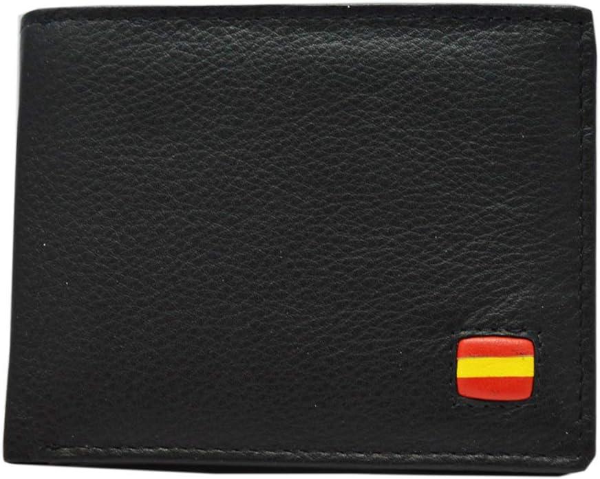 Cartera Caballero Piel Negra Bandera de España Albero 11 x 8.5 cm: Amazon.es: Equipaje