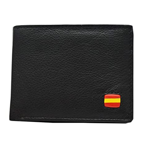 Cartera Caballero Piel Negra Bandera de España Albero 11 x ...