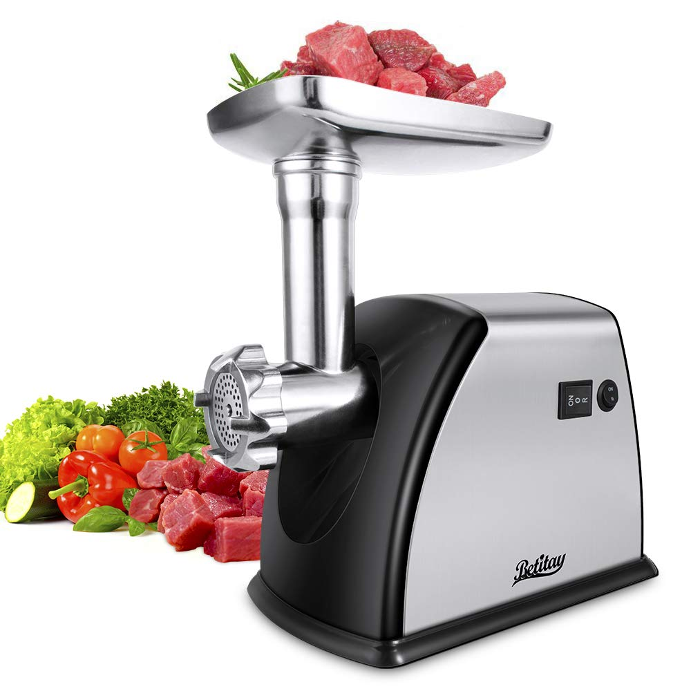 Betitay Electric Meat Grinder Mincer,1800W Max Stainless Steel Sausage Maker Stuffer,Food Processor Machine with Cutting Blade & Plates,Sausage & Kibbe Attachment by Betitay