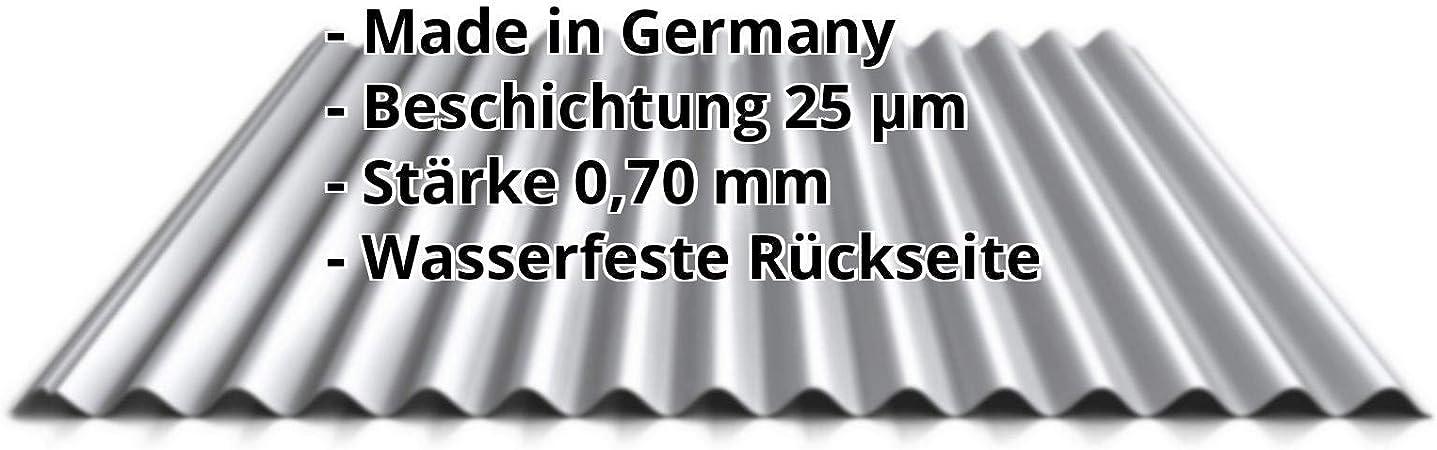Farbe Wei/ßaluminium St/ärke 0,50 mm Wellblech Profil PS18//1064CR Profilblech Beschichtung 25 /µm Material Stahl Dachblech