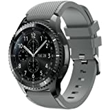 KOMI Watch Band compatible with Samsung Gear S3 Frontier/Classic, Soft Silicone Replacement Band Wrist Straps Fit 22mm Band(g