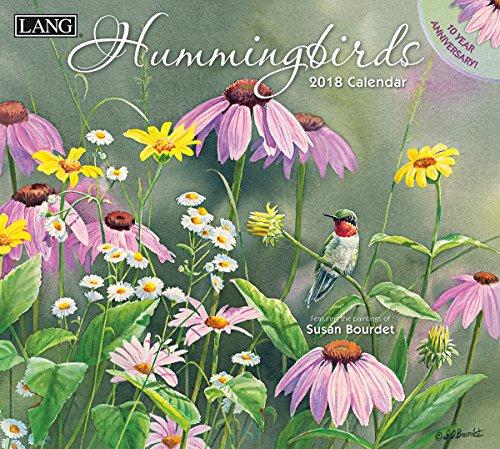 """LANG - 2018 Wall Calendar - """"Hummingbirds"""", Artwork by Susan Bourdet - 12 Month - Open 13 3/8"""" X 24"""""""