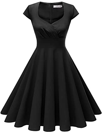 d486a2cdffc Homrain Women s 1950s Retro Vintage Cap Sleeve Rockabilly Swing Dress  Cocktail Dresses Black XS