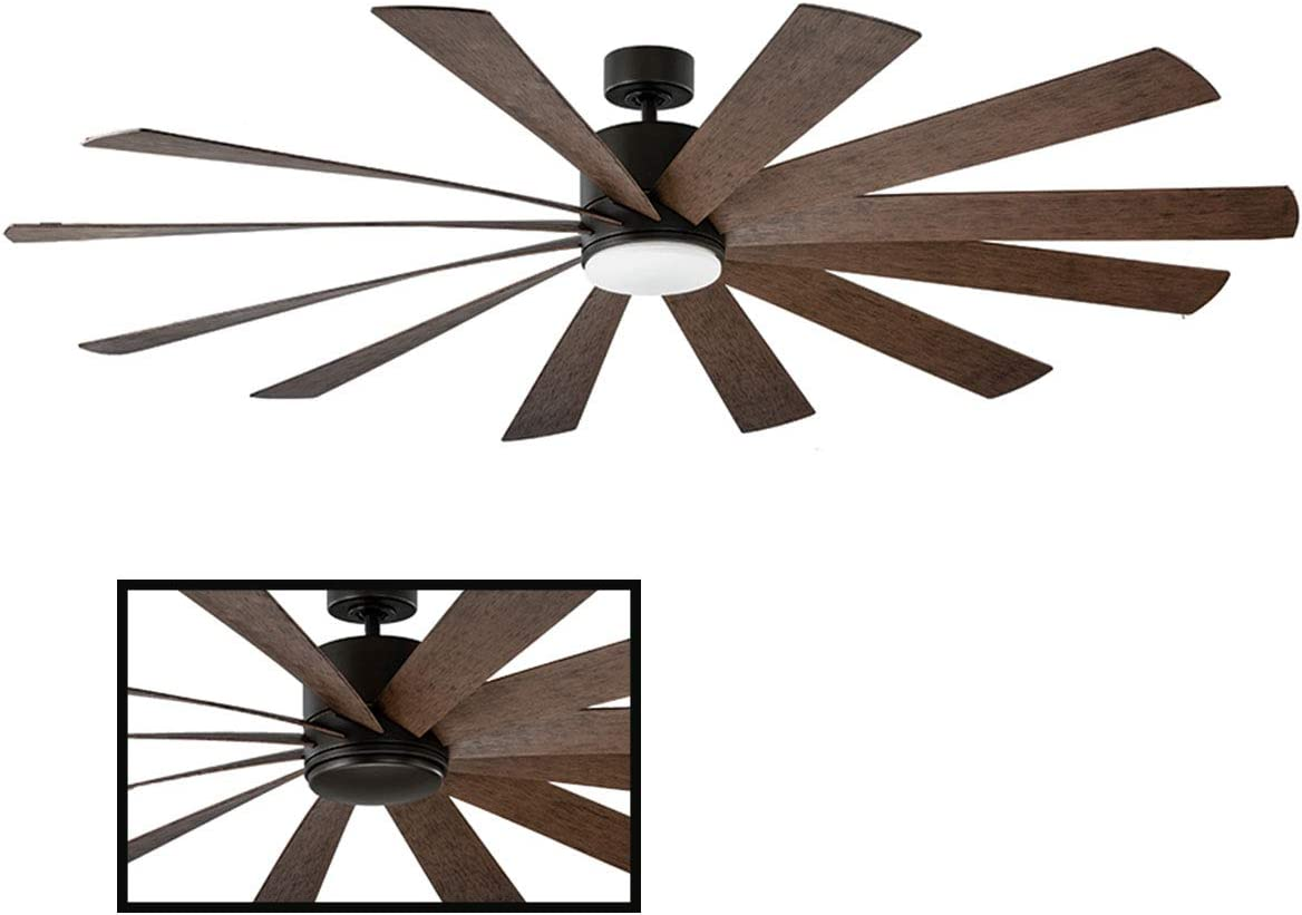 Windflower Indoor Outdoor 12-Blade Smart Ceiling Fan 80in Oil Rubbed Bronze with 3500K LED Light Kit and Wall Control works with iOS Android, Alexa, Google Assistant, Samsung SmartThings, and Ecobee