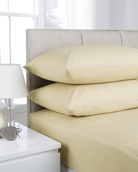 Superior ShawsDirect Bed Linen / Easy Care Polycotton Fitted Sheet (Single, Lemon)