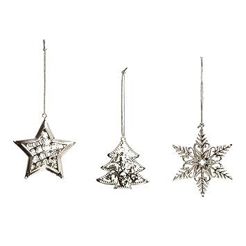12 Metall Weihnachtsanhanger Schneeflocke Stern Tannenbaum Silber