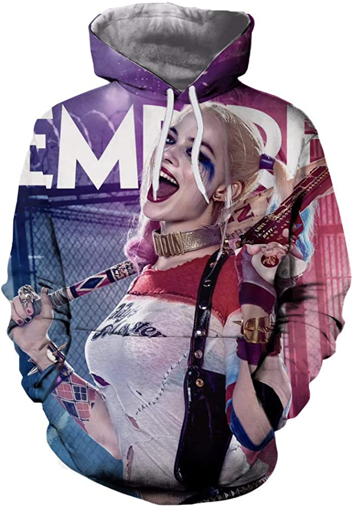 Unisex Harley Quinn 3D Printed Hoodie Sweatshirt Pullover with Pocket for Funs