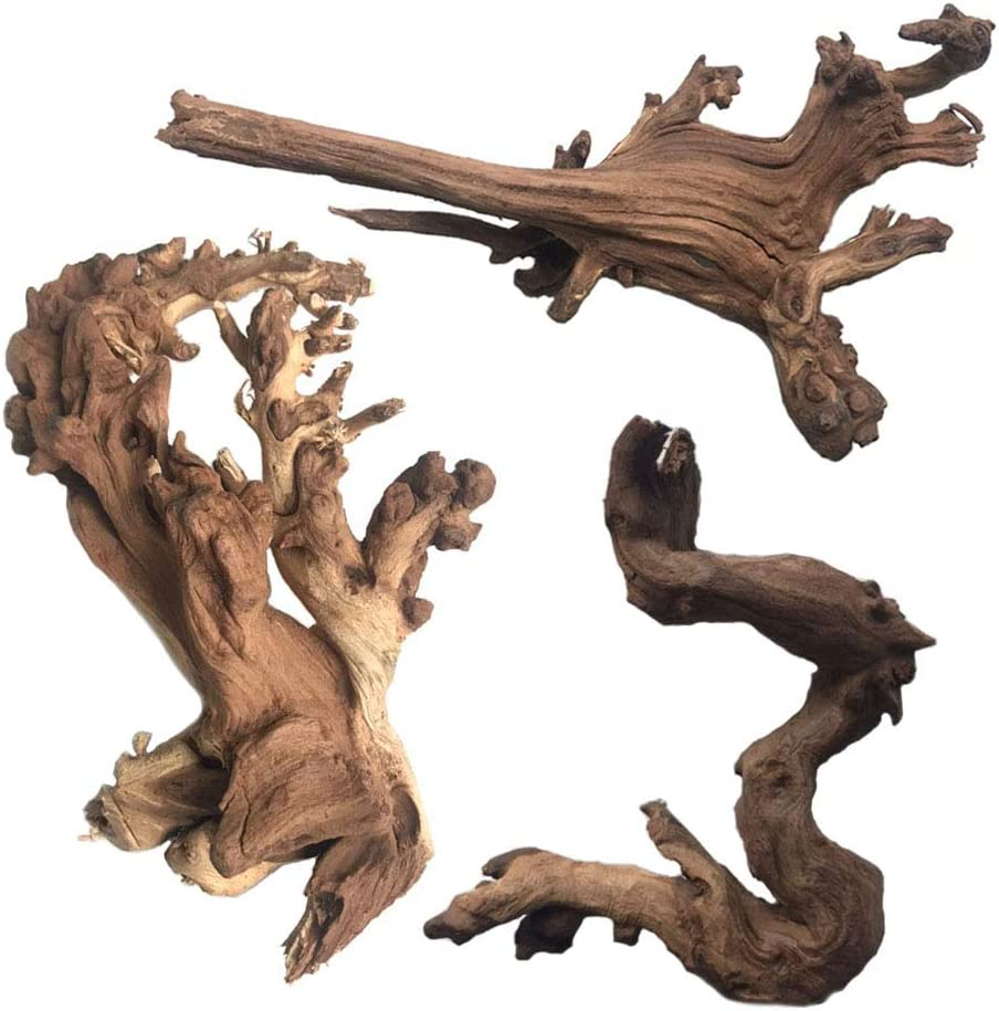 PIVBY Natural Aquarium Driftwood Assorted Branches Reptile Ornament for Fish Tank Decoration Pack of 3