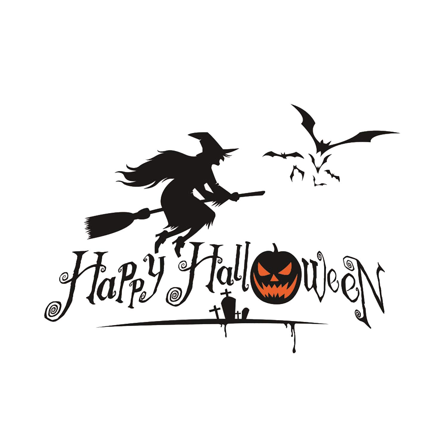 Topgalaxy.Z 16.5'' x 21.25'' Wall Sticker Happy Halloween decor Witch Wall Decals Window Stickers Halloween Decorations for Kids Rooms wall decoration halloween