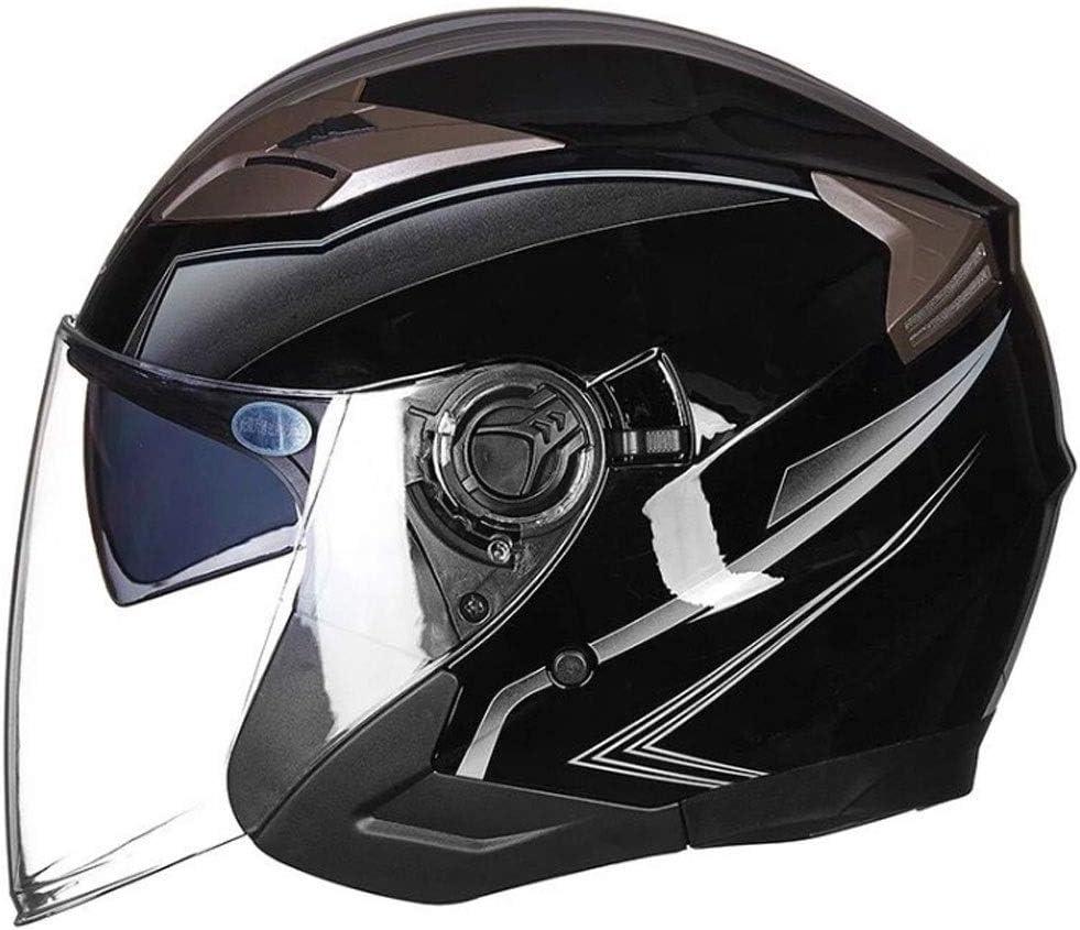 ダブルレンズ四季ユニバーサルヘルメットと男性と女性のための電気オートバイのバッテリーカーヘルメット (Color : 黒 4, Size : L)
