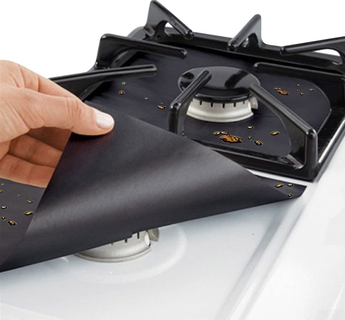 Cubiertas para Quemador de Estufa de Gas Limpia Protector de la Estufa Hoja de 0.2 mm Doble Espesor, Estufa de Gas Reutilizable Protectores 4 Unids