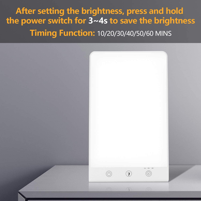 SAD-Lampe LED Tageslicht LED Lichttherapie lampe mit dimmbere Hengda Tageslichtlampe UV-freie Touch Steurung Lichttherapie Lampen mit Halterung