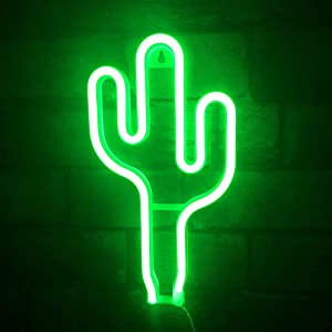 Cactus Neon Signs Lights for Wall Decor Bedroom Kids Room Plug in Wall Lamp Girls Room Decor Battery USB Operated Neon Lights Green Neon Signs Cactus for Children's Bedroom Bar Christmas