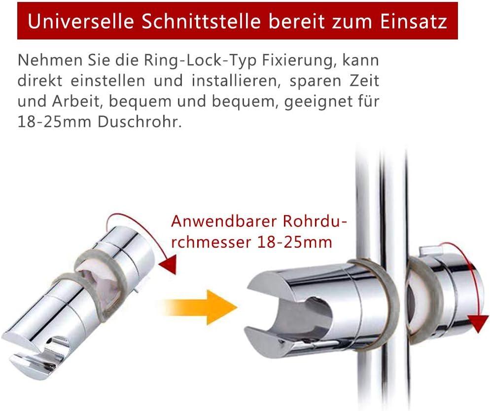 360/°Drehbar Duschkopfhalterung,Handbrause Halterung 18-25 mm Verstellbar Brausehalter Duschhalterung f/ür Handbrause oder Duschkopf f/ür Badezimmer Grau