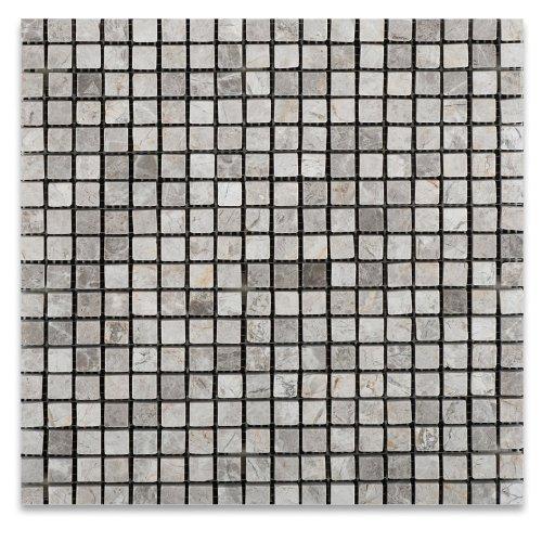 Silverado Gray 5/8 X 5/8 Marble Tumbled Mosaic Tile
