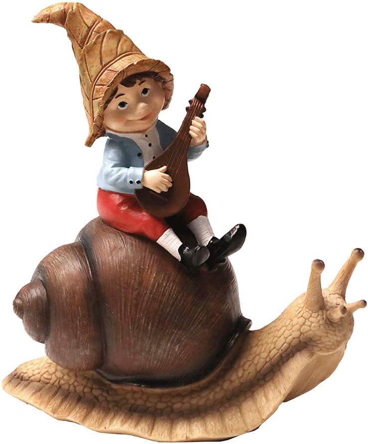 Nature's Rhythm Garden Gnome and Snails Garden Decor Snail Dwarf Statue Outdoor Patio Christmas Decor